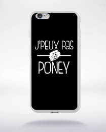 Coque j'peux pas j'ai poney fond noir compatible iphone 6 transparent