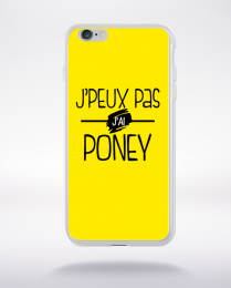 Coque j'peux pas j'ai poney fond jaune compatible iphone 6 transparent