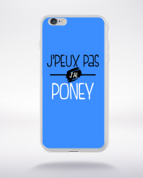 Coque j'peux pas j'ai poney fond bleu compatible iphone 6 transparent