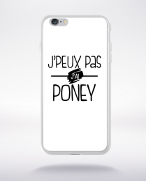 Coque j'peux pas j'ai poney fond blanc compatible iphone 6 transparent