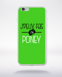 Coque j'peux pas j'ai poney fond vert compatible iphone 6 transparent