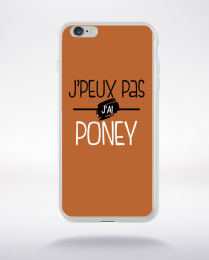 Coque j'peux pas j'ai poney fond marron compatible iphone 6 transparent