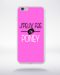 Coque j'peux pas j'ai poney fond rose compatible iphone 6 transparent