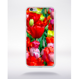 Coque champs de tulipes multicouleurs compatible iphone 6 transparent