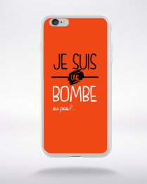 Coque je suis une bombe ou pas ? fond orange compatible iphone 6 transparent