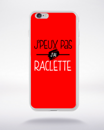 Coque j'peux pas j'ai raclette fond rouge compatible iphone 6 transparent