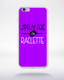 Coque j'peux pas j'ai raclette fond violet compatible iphone 6 transparent