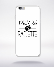 Coque j'peux pas j'ai raclette fond blanc compatible iphone 6 transparent