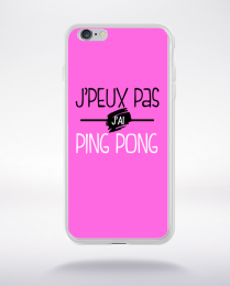 Coque j'peux pas j'ai ping pong fond rose compatible iphone 6 transparent