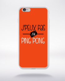 Coque j'peux pas j'ai ping pong fond orange compatible iphone 6 transparent