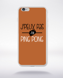 Coque j'peux pas j'ai ping pong fond marron compatible iphone 6 transparent