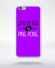 Coque j'peux pas j'ai ping pong fond violet compatible iphone 6 transparent