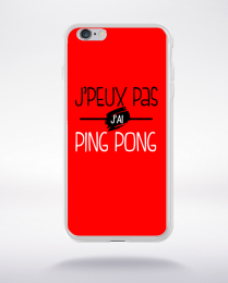 Coque j'peux pas j'ai ping pong fond rouge compatible iphone 6 transparent