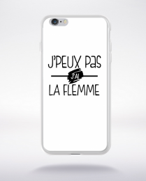 Coque j'peux pas j'ai la flemme fond blanc compatible iphone 6 transparent