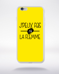 Coque j'peux pas j'ai la flemme fond jaune compatible iphone 6 transparent