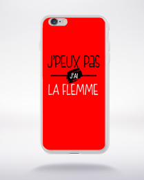 Coque j'peux pas j'ai la flemme fond rouge compatible iphone 6 transparent