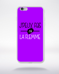 Coque j'peux pas j'ai la flemme fond violet compatible iphone 6 transparent