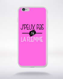 Coque j'peux pas j'ai la flemme fond rose compatible iphone 6 transparent
