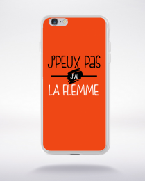 Coque j'peux pas j'ai la flemme fond orange compatible iphone 6 transparent