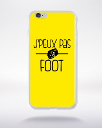 Coque j'peux pas j'ai foot fond jaune compatible iphone 6 transparent
