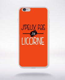 Coque j'peux pas j'ai licorne fond orange compatible iphone 6 transparent