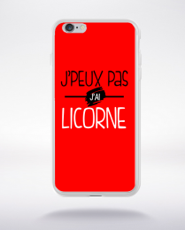 Coque j'peux pas j'ai licorne fond rouge compatible iphone 6 transparent