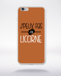 Coque j'peux pas j'ai licorne fond marron compatible iphone 6 transparent