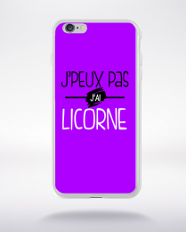 Coque j'peux pas j'ai licorne fond violet compatible iphone 6 transparent