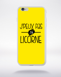 Coque j'peux pas j'ai licorne fond jaune compatible iphone 6 transparent