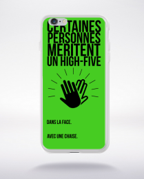 Coque high five dans ta face. fond vert compatible iphone 6 transparent