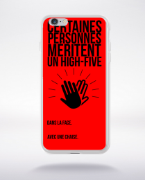 Coque high five dans ta face. fond rouge compatible iphone 6 transparent