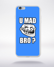 Coque u mad bro. fond bleu compatible iphone 6 transparent