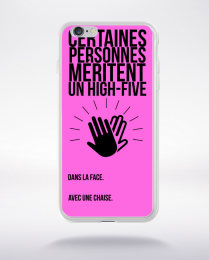 Coque high five dans ta face. fond rose compatible iphone 6 transparent
