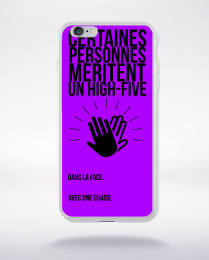 Coque high five dans ta face. fond violet compatible iphone 6 transparent
