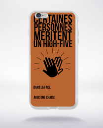 Coque high five dans ta face. fond marron compatible iphone 6 transparent