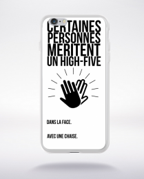 Coque high five dans ta face. fond blanc compatible iphone 6 transparent