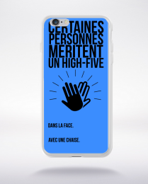 Coque high five dans ta face. fond bleu compatible iphone 6 transparent