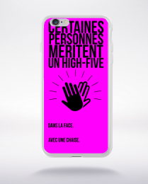 Coque high five dans ta face. fond fushia compatible iphone 6 transparent