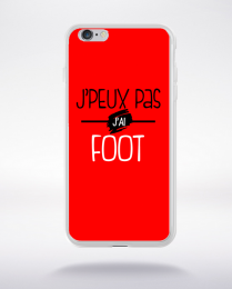 Coque j'peux pas j'ai foot fond rouge compatible iphone 6 transparent