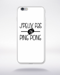 Coque j'peux pas j'ai ping pong fond blanc compatible iphone 6 transparent