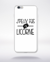 Coque j'peux pas j'ai licorne fond blanc compatible iphone 6 transparent