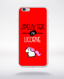 Coque j'peux pas j'ai licorne 1 compatible iphone 6 transparent