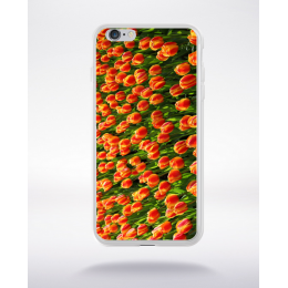 Coque champ tulipes orange compatible iphone 6 transparent