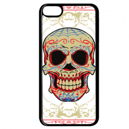 Coque floral skull compatible ipod touch 6 bord noir