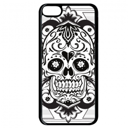 Coque floral skull 5 compatible ipod touch 6 bord noir