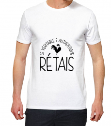 T-shirt blanc manche courte le vritable authentique rtais